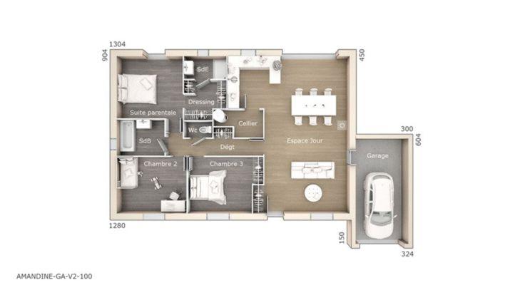 Plan achat maison neuve à construire - Les Maisons de Manon Amandine GA V2 100 Design