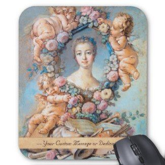 Madame de Pompadour François Boucher rococo lady Mousepad #madame #pompadour #pastel #portrait #boucher #Paris #France #classic #art #custom #gift #lady #woman #girl