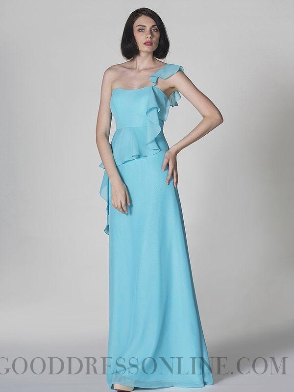 Chic A-line Floor-length One Shoulder Ruffles Prom Dresses
