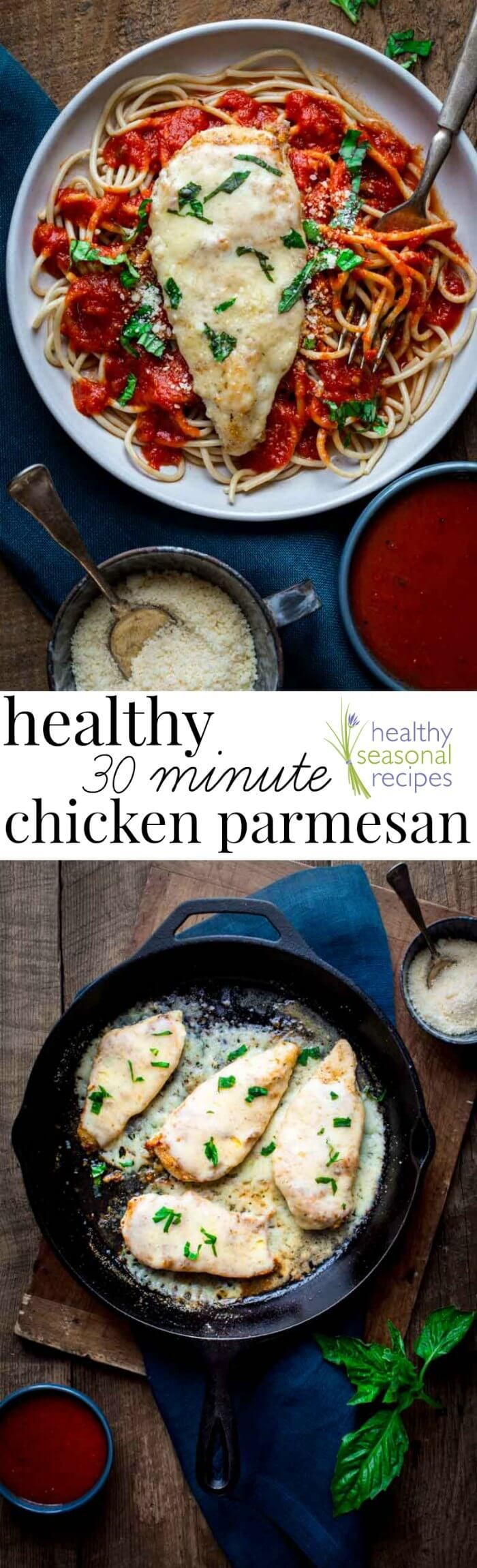 This Healthy 30 Minute Chicken Parmesan is a keeper! One… it's ready in 30 minutes making it a perfect weeknight dinner. Two… it's a healthier version of the traditional recipe and even has a gluten free option.