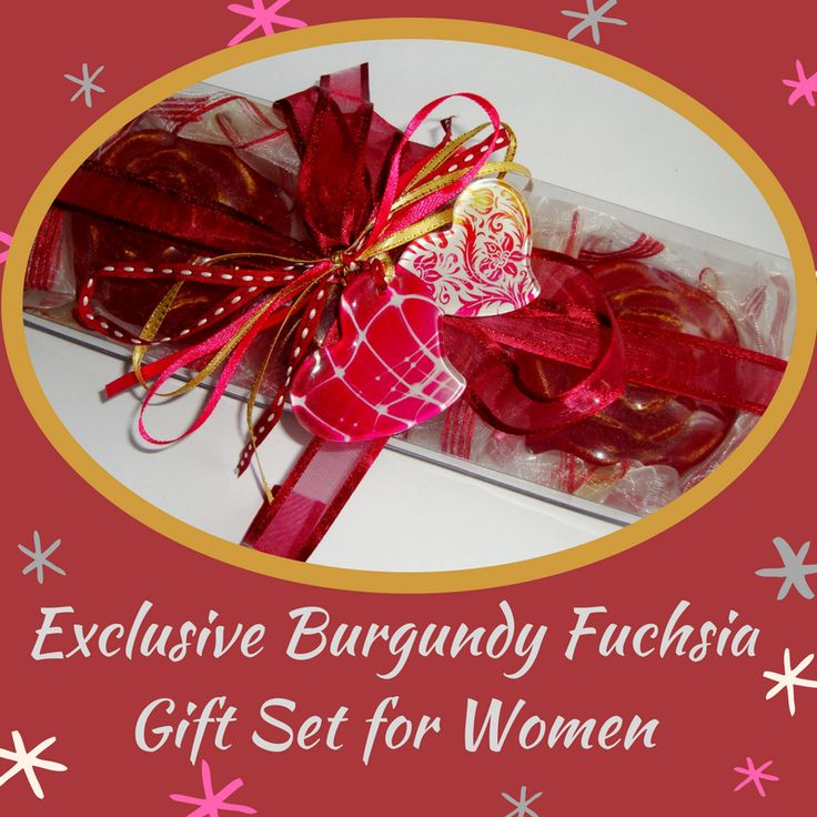 An Elegant Gift for the Mother of the Bride - a Handmade Gift Set for women containing three Burgundy-Fuchsia Colour Scented Luxury Soaps - pomegranate scent and a lovely Glass Handmade Double-Heart Decorative in the packaging, which can be used as Jewelry.