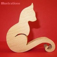 Sculpture en bois chat 7 en chantournage