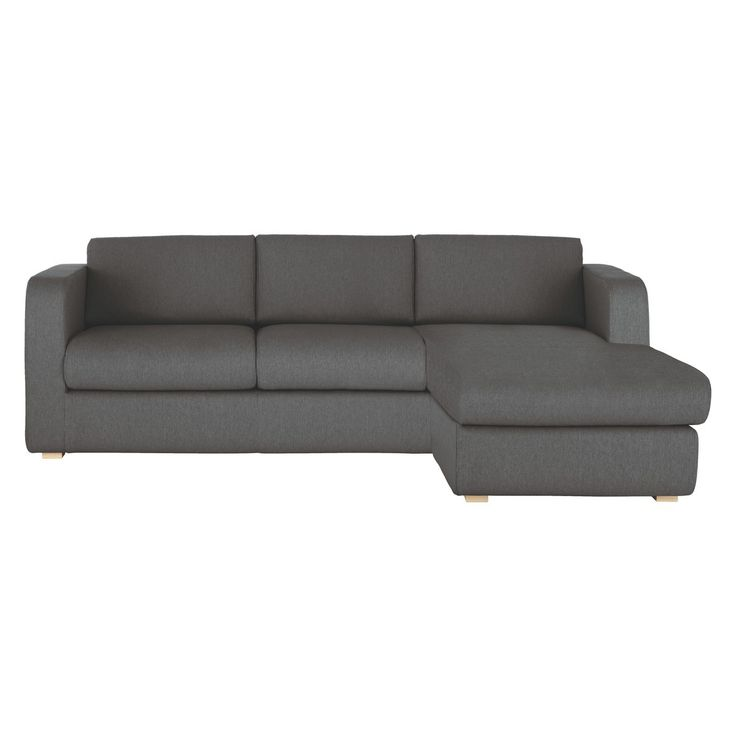 PORTO Charcoal Fabric Reversible Chaise Sofa Bed