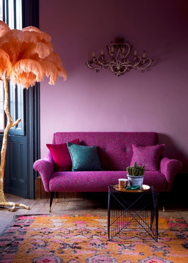 Bold living room color palette. The Matthew Williamson Tango sofa in Aurora Fuchsia.