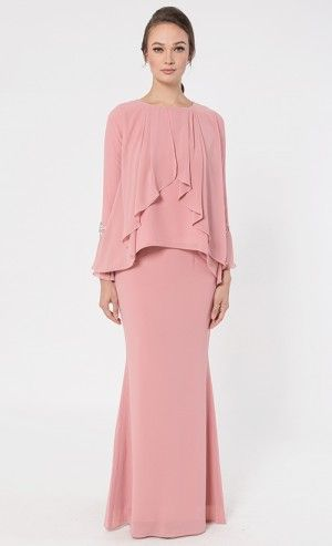 Dahlia Kurung in Dusty Pink