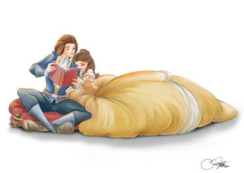 Belle and Prince Adam reading a book together