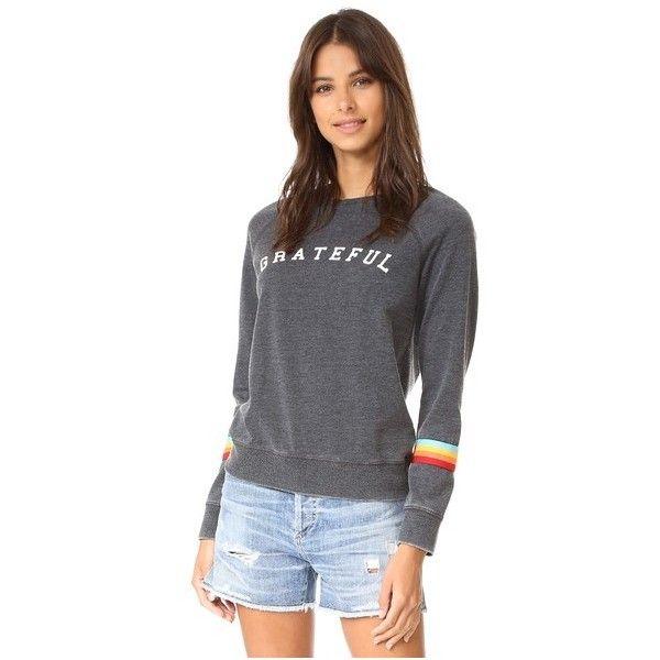 Spiritual Gangster Grateful Rainbow Sweatshirt (€87) ❤ liked on Polyvore featuring tops, hoodies, sweatshirts, black, long sweatshirt, long tops, raglan top, raglan sleeve sweatshirt and spiritual gangster