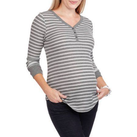 Faded Glory Maternity Long Sleeve Thermal Henley Tee, Size: Small, Multicolor