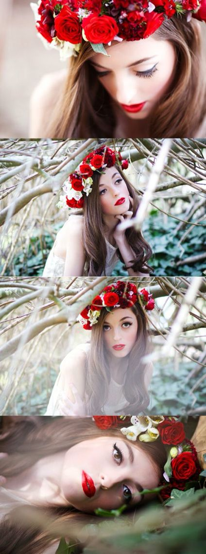 Flower head band and poses