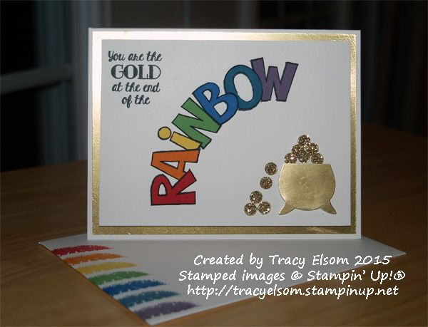 New Over the Rainbow stamp set with pot made using the Owl Builder Punch both from Stampin' Up! http://tracyelsom.stampinup.net