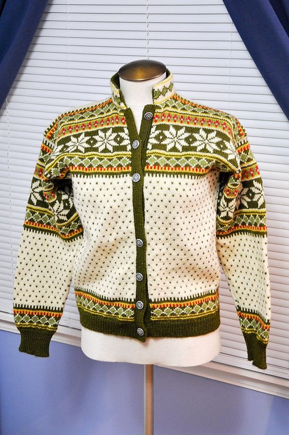 Viking Knit Wool Cardigan Sweater Norway by StarfishCollectibles
