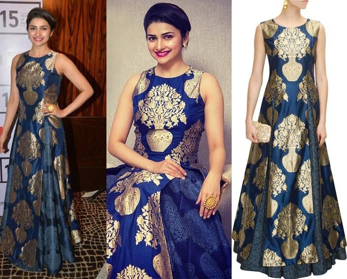 GET THIS LOOK: Prachi Desai looks stunning in a Midnight blue flower pot woven high slit kurta by SVA  Shop now: http://www.perniaspopupshop.com/designers/sva