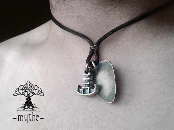 Mens Guitar Pick and Hammer Necklace Sterling Silver by LeMythe
