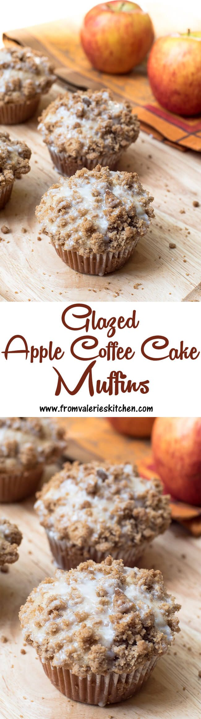 Welcome the fall season with these tasty, coffe cake style muffins! ~ https://www.fromvalerieskitchen.com