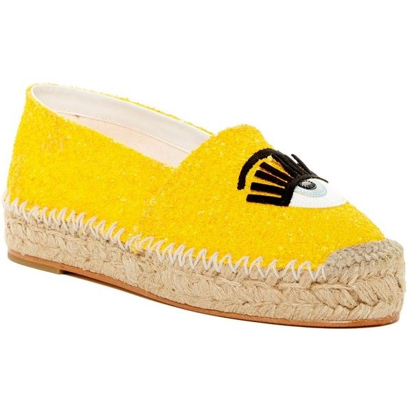 Chiara Ferragni Glitter Espadrille (£155) ❤ liked on Polyvore featuring shoes, sandals, yellow, slip on sandals, platform shoes, glitter slip on shoes, platform espadrilles and yellow espadrilles