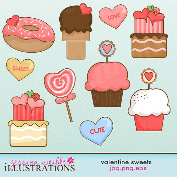 Valentine Sweets Cute Digital Clipart for Card by JWIllustrations, $5.00
