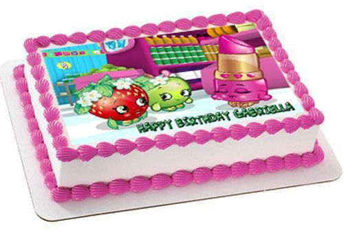 SHOPKINS Edible Birthday Cake Topper OR Cupcake Topper, Decor