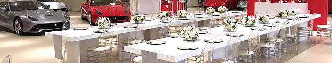 Ferrari Event Installation, Furniture & Dinnerware Rental Services for the automotive industry http://www.redcarpetsystems.com/event-production-services-for-the-automotive-industry/