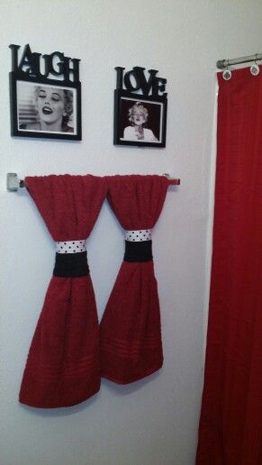 Cheap Black white and red marilyn monroe themed apartment bathroom decor.
