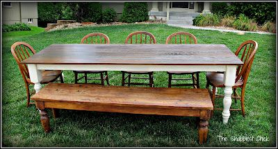 This girl made this table in two days.  Two days!!  Links to the original plans too.  It truly does not look that hard.