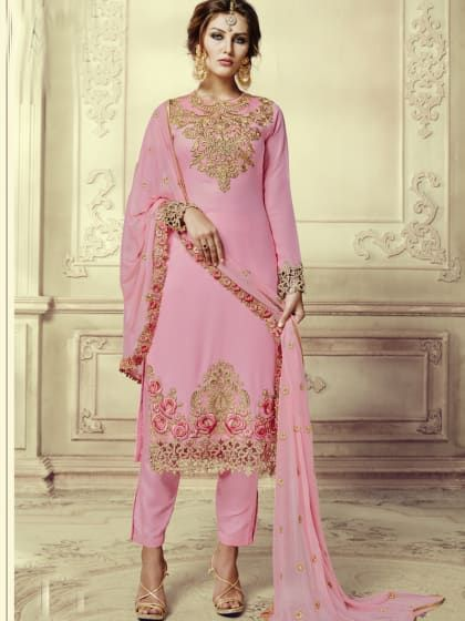 3225251080f Baby Pink Georgette Embroidered Semi-Stitched Salwar Suit