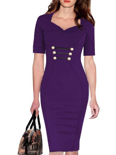 Fantastic V Neck Bodycon-dress With Button Bodycon Dress from fashionmia.com
