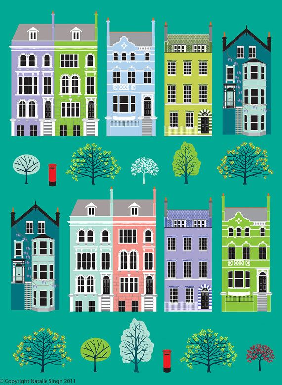 London Row Houses by natalieasingh on Etsy