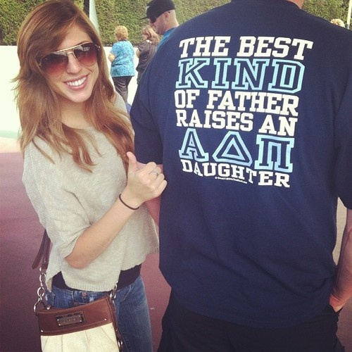 """""""The best kind of father raises an ADPi daughter."""" Cute t-shirt for Daddy/Daughter Day!"""