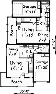 Best 25 duplex house plans ideas on pinterest duplex for Corner lot duplex floor plans