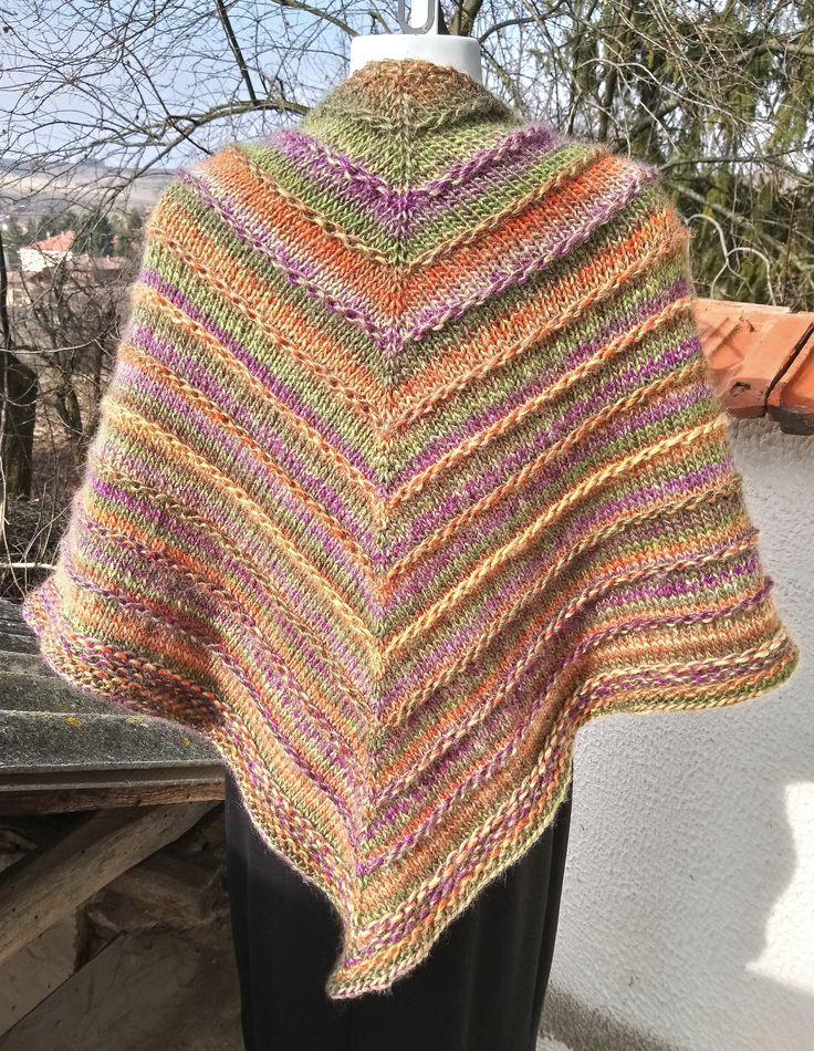 Excited to share the latest addition to my #etsy shop: Hand knitted shawl - Knit triangle shawl - Knit rainbow shawl - Knitted wrap - Ladies hand knitted purple, orange and green shawl http://etsy.me/2CyUCLB