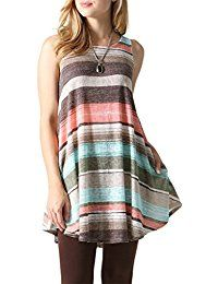 New Risesun Women's Sleeveless Striped Lightweight Tunic Top Pocket Stretch Swing Tank Dress online. Find the perfect Maggie Tang Tops-Tees from top store. Sku WYHU84870NHYQ76894