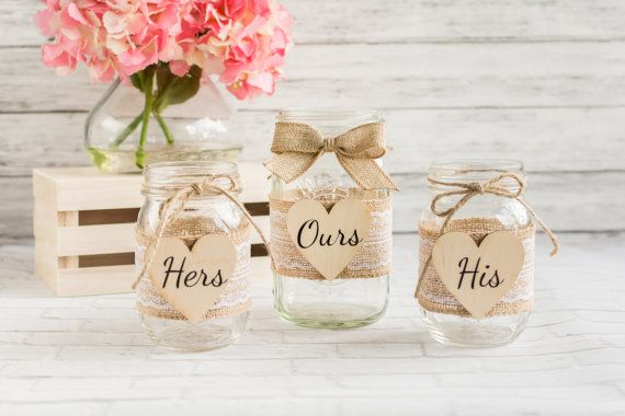 Mason Jar Wedding Sand Ceremony Set - Burlap Lace Rustic Chic Unity Sand Ceremony - Personalized Sand Ceremony Jars