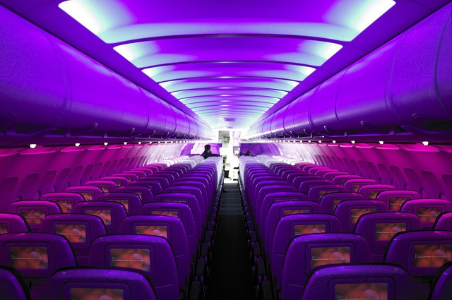 Virgin America Mood Lighting - Best Fleet in the Air!!  I am proud to have worked for such a first class airline!!!