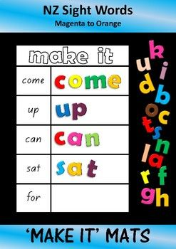 Activity mats for students working on their sight words from the Magenta to Orange level of the NZ reading colour wheel.Print and laminate the mats.  Students make the words using alphabet letters (eg magnetic letters, scrabble tiles, letters written on milk bottle lids, letters written on pieces of card )The type of activity that your hands-on learners will appreciate.Great for a learning station, early finisher activity, etc.This activity will reinforce reading and spelling.The font used…