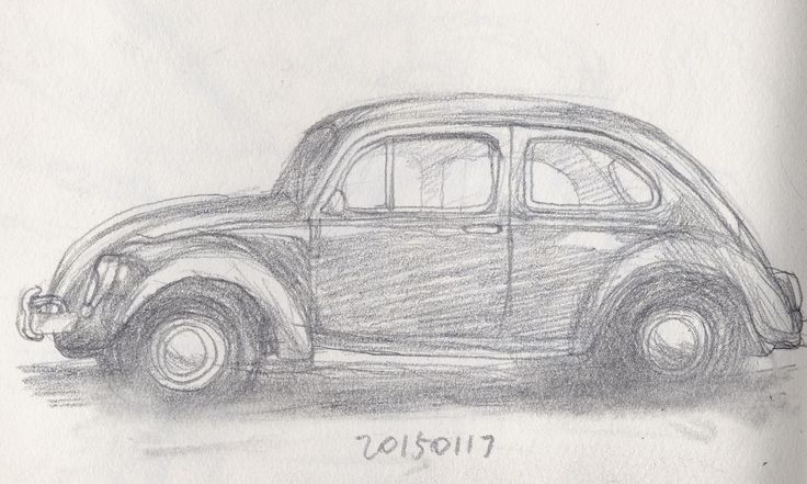 pencil drawing - An old car