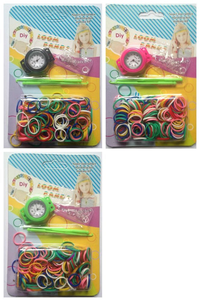 Loom Bands Watch Making Kit 600 Loom Bands S clips Hook