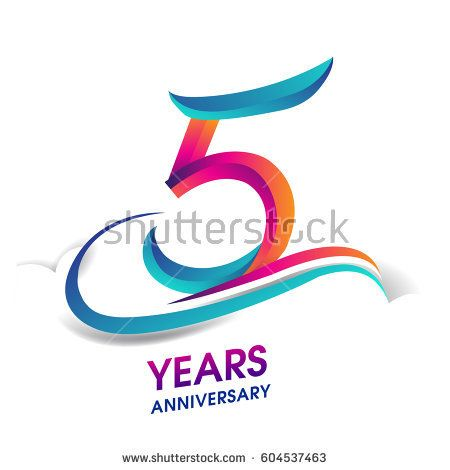 five years anniversary celebration logotype blue and red colored. 5th birthday logo on white background.