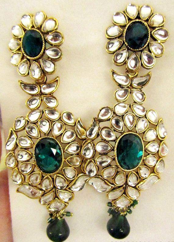 Long Kundan earrings Kundan Green Chandelier by taneesijewelry, $65.00