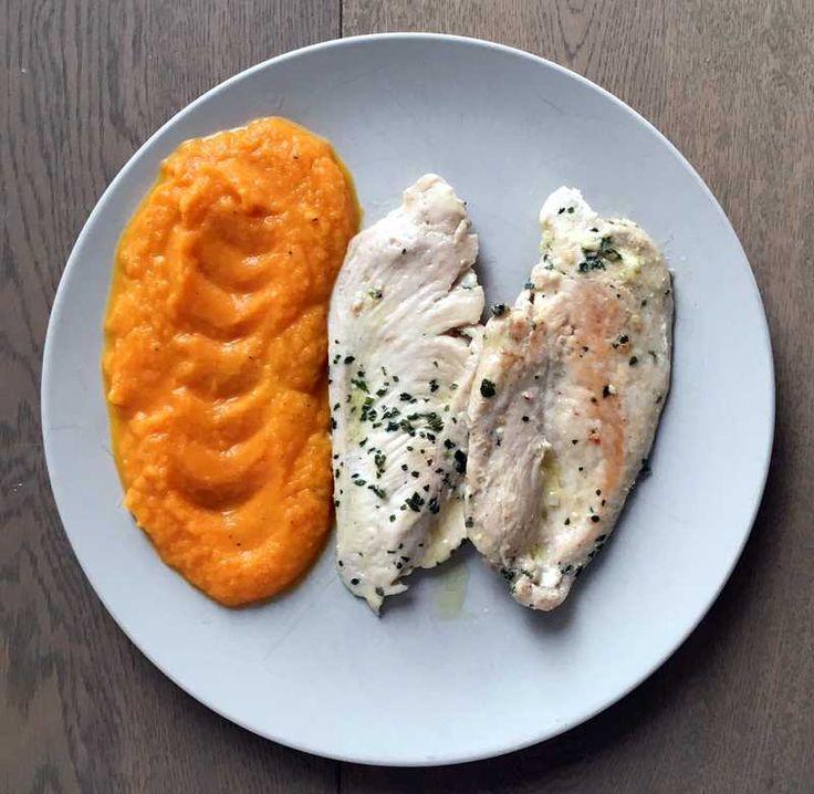 Kuřecí plátky s mrkvovým krémem   Creme, Frango e Cenouras