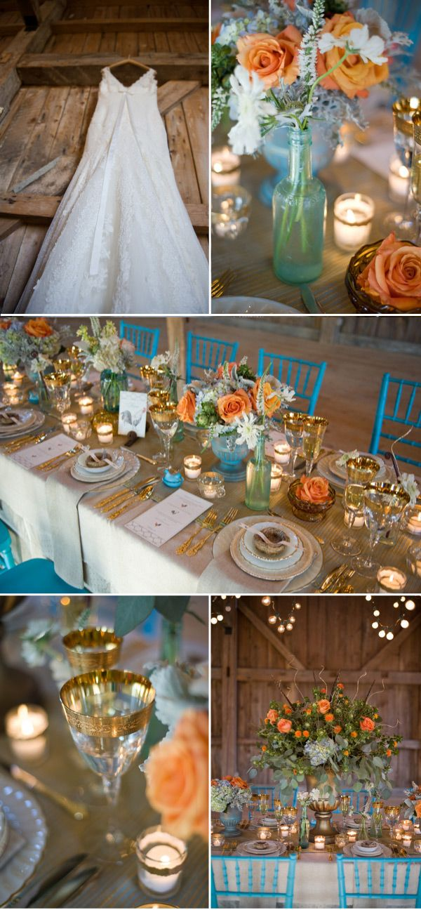 Peach, turquoise, and gold. I'm in love with this!
