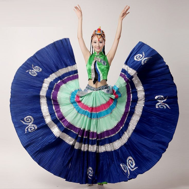 big swing embroidery Chinese Ethnic dance performance costumes original Yi Minority Tribal style clothes for folk dance show