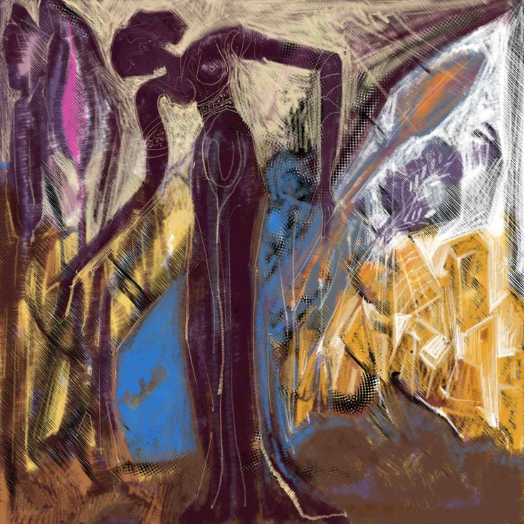 A dark purple  Woman. digital Painting. 2017 Two series of Prints. 60x60 cm.  5.Prints. 90x90 cm. 5 prints.