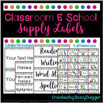 Organization labels for classroom and school supplies available with and without pictures as well as an editable file. I am a little (okay, a lot) container and organization obsessed. I created these cute labels to help me organize my many, many school and classroom supplies!