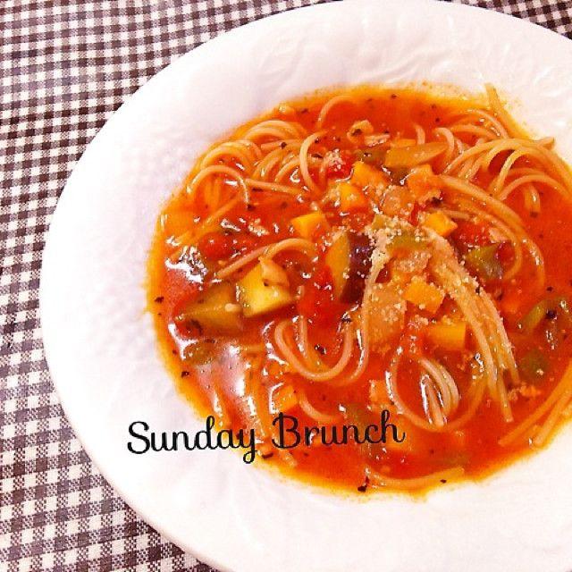 麺の別茹で不要♪簡単トマトスープスパ