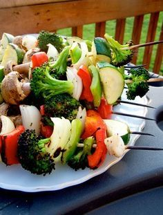 Veggie Kabobs - actually the best kabobs I've ever made. I would eat a tray of them.