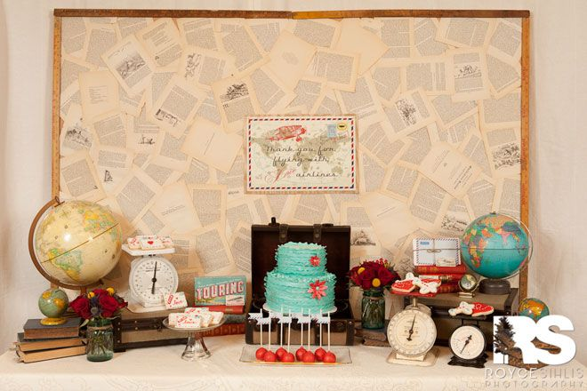 Vintage Airplane Dessert Table: beautiful book page backdrop and vintage globes and scales {Love the Day}