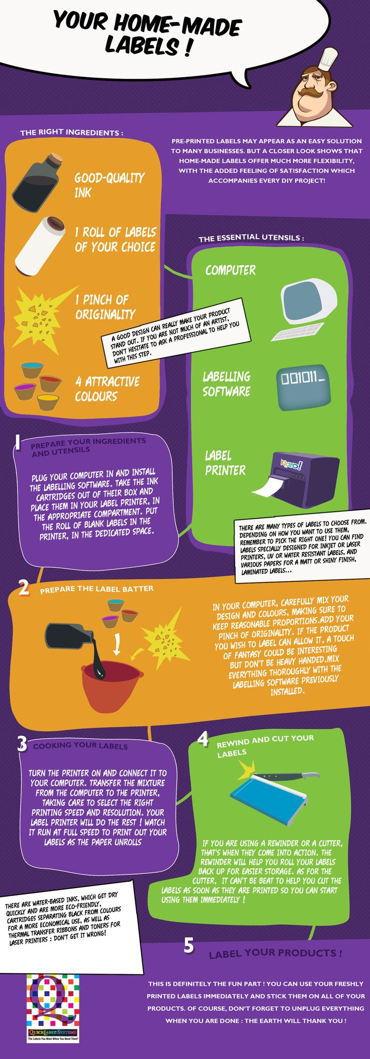Start with an in-house label printer  -  The infographic shows that having your own label printer is one of the essential ingredients for successful, attractive in-house label printing. You can then experiment at will. http://www.quicklabel.co.uk/