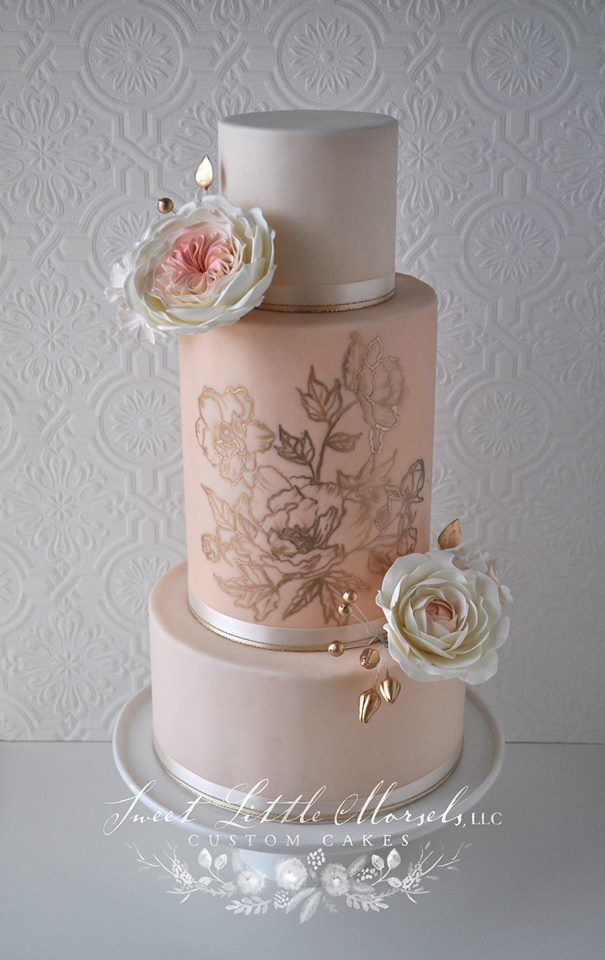 www.cakecoachonline.com - sharing....Ombre Blush Pink & Gold Cake