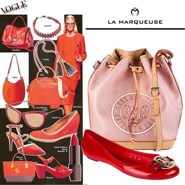Trendowe czerwone akcesoria wg Vogue Accessory ...: #Love #Moschino #LaMarqueuse #Vogue #dodatki #akcesoria #accessory #baleriny #torba #bag :...