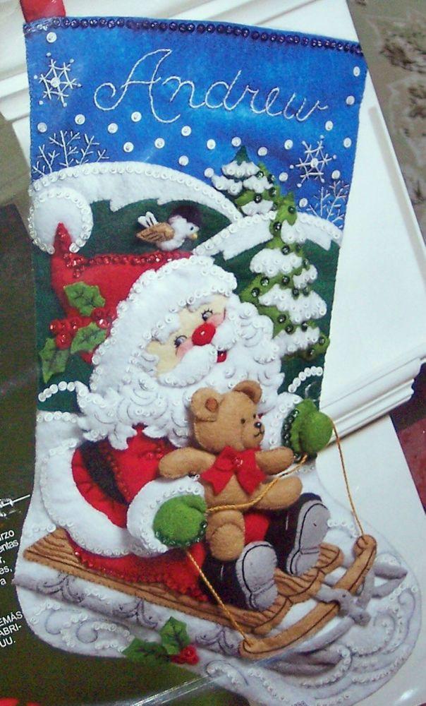 "Bucilla New "" SANTA'S SLED"" Felt Christmas Stocking Kit Factory Direct #Bucilla"